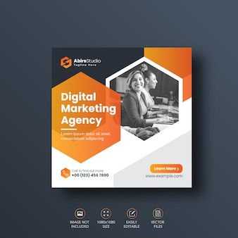 Цифровой бизнес маркетинг социальных медиа баннер или квадратный флаер шаблон