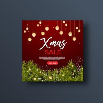 Рождественская распродажа баннер в социальных сетях или квадратный флаер