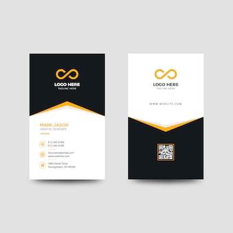 Желтый вертикальный шаблон визитной карточки