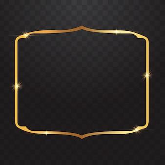 透明な背景のゴールドフレームライト