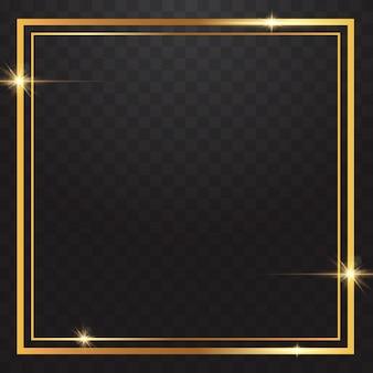 Золотые рамки свет в прозрачном фоне