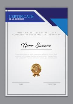 Сертификат шаблона диплома, векторная иллюстрация