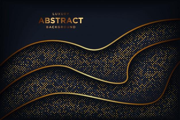 金色の輝くドットの組み合わせで抽象的な豪華な暗い背景。