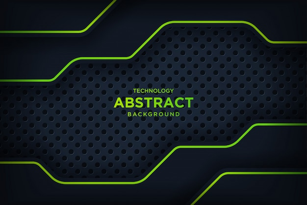 抽象的なメタリックブラックグリーンフレームレイアウトモダンなハイテク