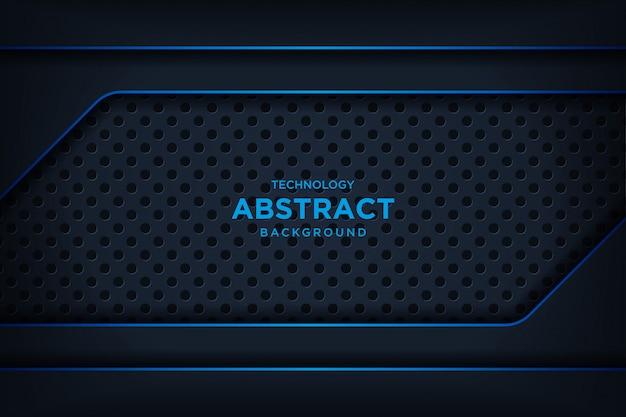 抽象的なメタリックブラックブルーフレームレイアウトモダンなハイテクキラキラ