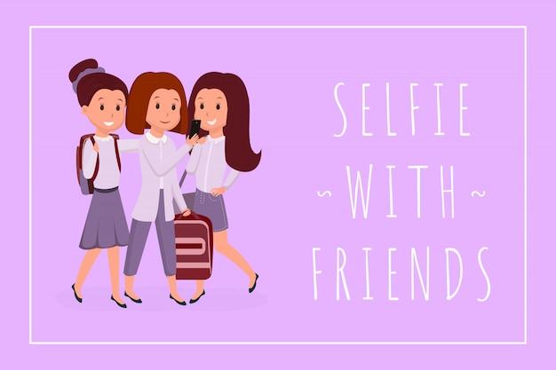 Селфи с друзьями баннер плоский шаблон. веселые одноклассники, подруги, цветные рисунки