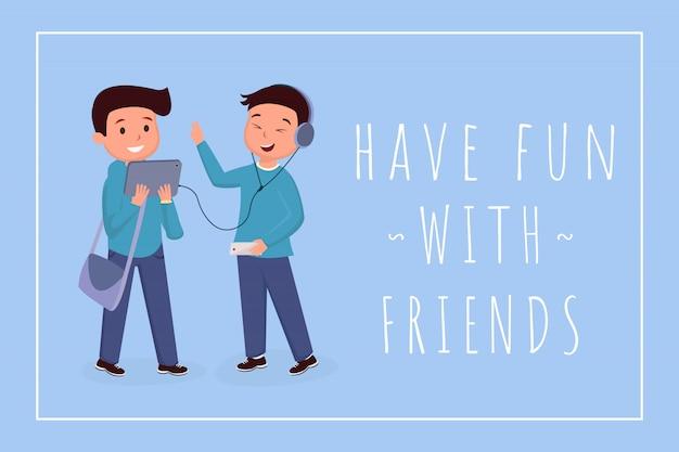 Веселитесь с друзьями баннер шаблон. одноклассники, подростки цветные иллюстрации с типографикой