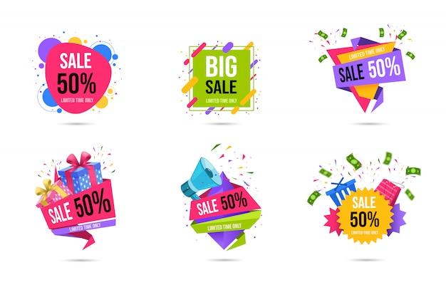 Торговые продажи веб-баннеры набор шаблонов