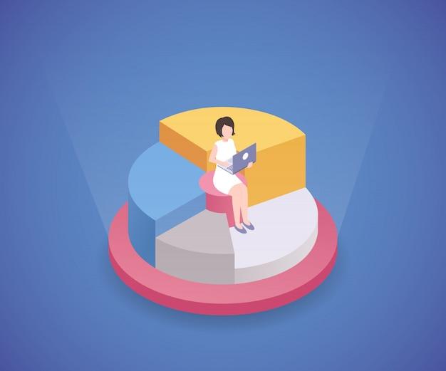 ラップトップのアイソメ図で働く女性