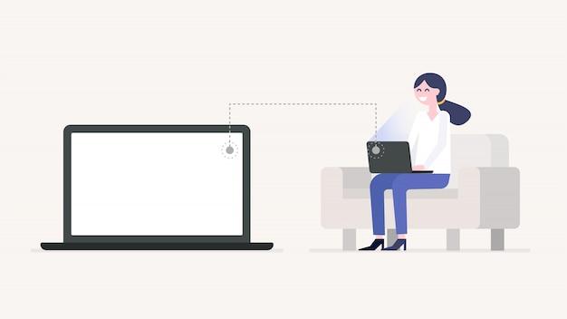 女の子が働いているか、ソファ、ノートパソコンの画面に座っているラップトップで勉強