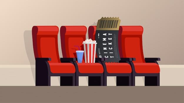 バナーシネマチケットベクトルイラスト。映画のチケットとポップコーンは席にあります。