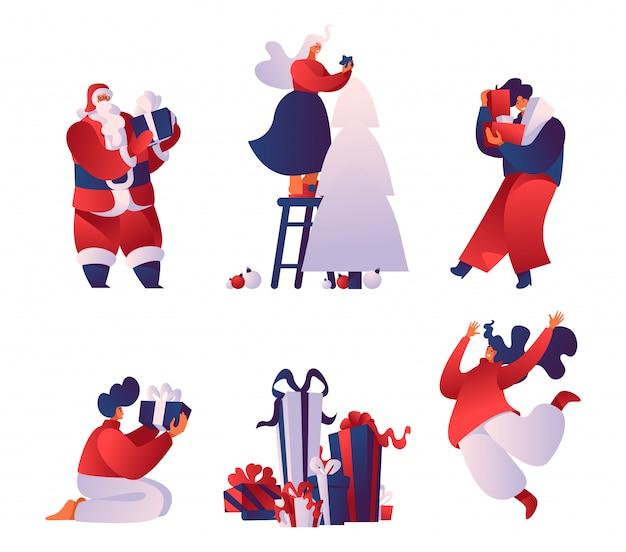 Празднование рождества плоские векторные иллюстрации набор