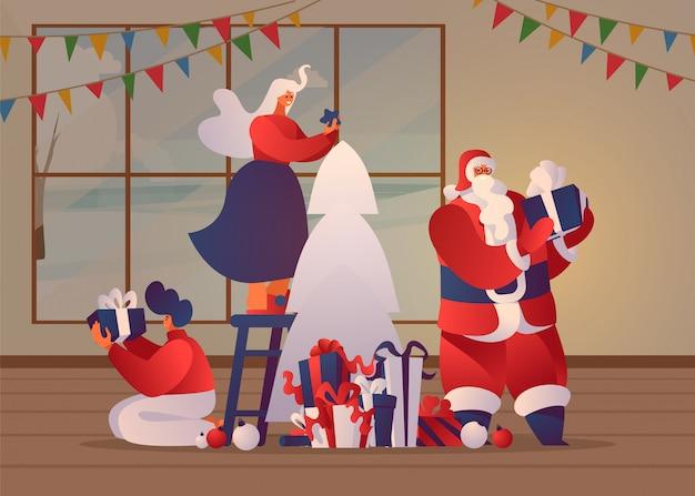 家のイラストでクリスマスの準備