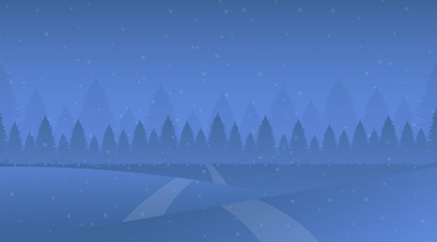 Ночной зимний пейзаж векторная иллюстрация