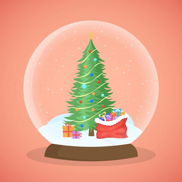 クリスマスツリー雪玉ベクトルイラスト