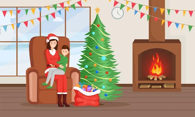 クリスマス、新年の伝統フラットイラスト