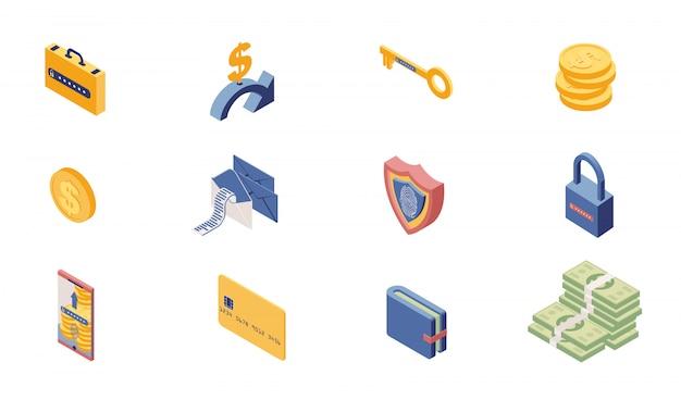 Изометрические набор иконок доступа к личной учетной записи