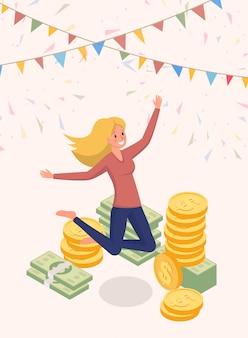 Радостно прыгает деньги владелец векторный характер
