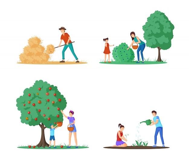 Набор векторных иллюстраций сезон сбора урожая фермы