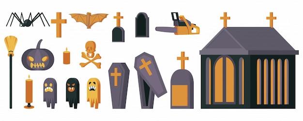Символы ужасов плоской иллюстрации набор.