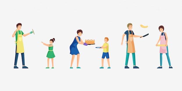 Люди приготовления пищи иллюстрации набор.
