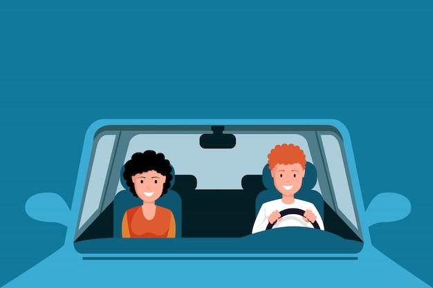 カップル運転青い車のイラスト。車の前部座席に座って、家族の遠征に行く男と女のキャラクター。自動運転の夫と妻が青に分離