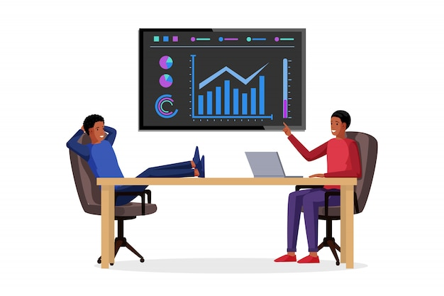プレゼンテーションの図を作るアフリカ系アメリカ人の実業家。ボード上のグラフ、図、インフォグラフィック、統計情報を含むビジネスレポート。ビジネス分析と戦略