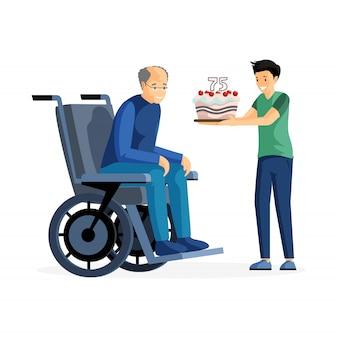 Празднование годовщины плоской иллюстрации. счастливый старший взрослый в инвалидной коляске и ребенок с тортом героев мультфильмов. внук поздравляет дедушку с днем рождения, заботой и поддержкой семьи