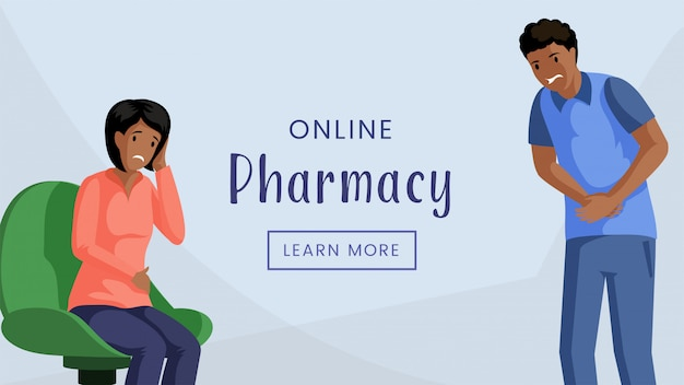 Интернет-аптека веб-баннер шаблон. интернет-аптека, современные медицинские услуги, реклама плакат концепции. люди с головной болью и боли в животе плоской иллюстрации с типографикой