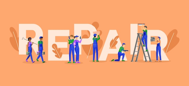 プロの修理サービスワードコンセプトバナー。熟練した電気技師、技術者、家の画家、タイルレイヤーの漫画のキャラクター。職人と便利屋チームプロモーションポスターデザイン