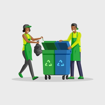 Люди, вывоз мусора плоский цветной иллюстрации. добровольцы сортируют отходы, складывают мусорный мешок в мусорные баки для переработки. афро-американский мужчина и женщина, уборка отдельных персонажей мультфильма