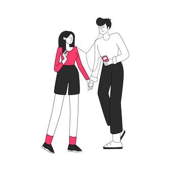 音楽愛好家のカップルのイラスト。好きな歌、ロマンチックなデート。若い女の子と手を繋いでいる少年、白で隔離音楽フラット輪郭文字を聞いている人
