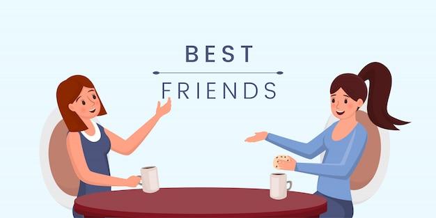 親友。漫画のキャラクターをチャット、コーヒーを飲む若い女の子。