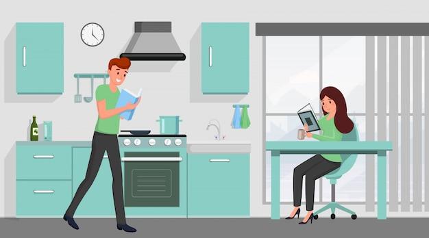 Книга любителей семьи плоской иллюстрации. муж и жена читают романы, сидя за кухонным столом героев мультфильмов.