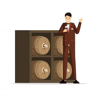 プロのソムリエフラットイラスト。タキシード、ワイングラスの漫画のキャラクターを保持しているテイスターのエレガントな男。