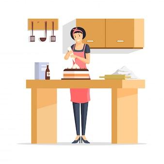 ケーキフラットイラストを作る女性。エプロン、キッチンの漫画のキャラクターの若い主婦で陽気なパン屋の労働者。