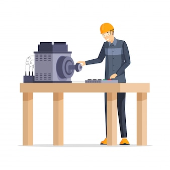 Фабричный рабочий плоской иллюстрации. счастливый работник завода стоял за верстак мультипликационный персонаж. улыбающийся человек в защитном шлеме и очках, работающих с промышленным оборудованием