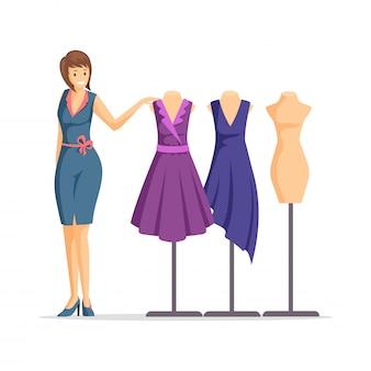 女性のファッションデザイナーのイラスト。陽気な仕立て屋、服屋、モデルの漫画のキャラクター。衣服デザイナーと分離されたドレスとマネキン
