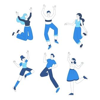 ジャンプセットを幸せな人々。アウトラインキャラクターを踊るカジュアルな服装でうれしそうな友人。肯定的な感情を表現する男性と女性、のんきなライフスタイルデザイン要素パック