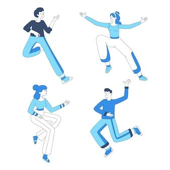 ジャンプの女の子と男の子のイラストセット。カジュアルな服装ダンスで陽気な若者、楽しいアウトライン文字。勝利のお祝い、肯定的な感情表現デザイン要素