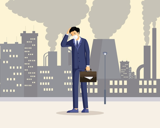 Человек страдая от иллюстрации смога плоской. мужской работник чувствует себя нездоровым в загрязненном городе, дышать пылью, дым персонажа из мультфильма. промышленные выбросы, загрязнение опасными загрязнителями