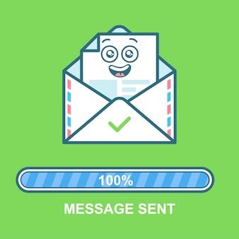 封筒の絵文字。進行状況バー付きフラットイラストメールキャラクターデザイン。メール送信の処理テキストメッセージを送信しました。
