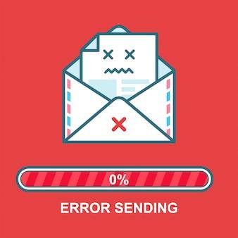 Конверт смайликов. дизайн персонажа плоской иллюстрации электронной почты пьяный с индикатором выполнения. процесс отправки электронной почты. ошибка текстового сообщения.