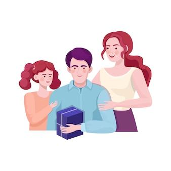 Мать и дочь, давая подарок отцу. с днем рождения, день отцов.