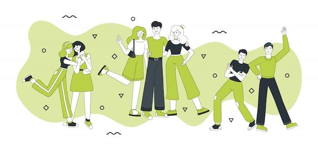 Друзья персонажей векторная иллюстрация