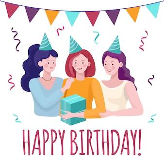 С днем рождения карты концепции. молодые женщины празднуют день рождения, поздравляют друга.