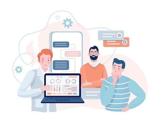 Специалисты, показывая презентацию мобильного приложения и веб-дизайн плоской иллюстрации.