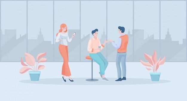 Специалисты во время перерыва на чашку кофе на работе плоской иллюстрации. женщина с смартфон, мужчины обсуждают.