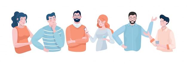 Люди, берущие перерыв на кофе, беседующие в смартфонах и имеющие иллюстрацию обсуждения плоскую.
