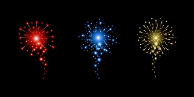 花火のリアルなイラスト。新年、クリスマスまたは休日のお祝い要素。